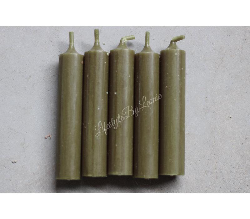 Dinerkaarsen bos-groen 11cm - 5 stuks