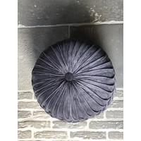 Velvet ronde poef 'Grey'