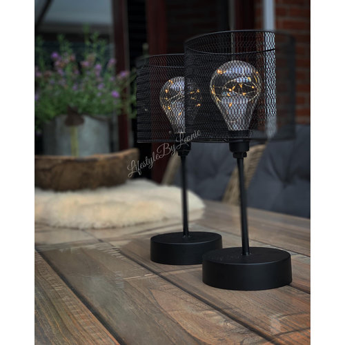 Zwart metalen LED tafellamp 34 cm