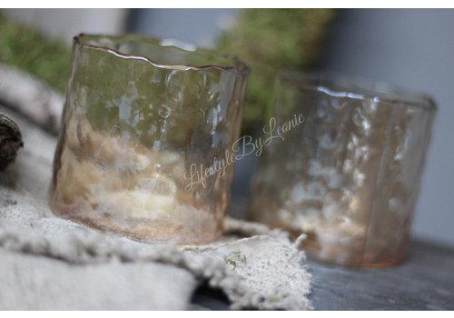 Windlichtje met kartelrand Amber 9 cm