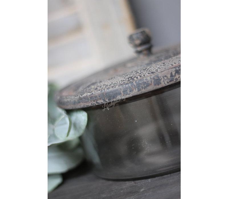 Sobere glazen voorraad / koekjes pot Old grey