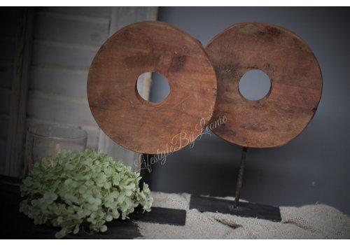 Houten wiel op voet Old look 25 cm
