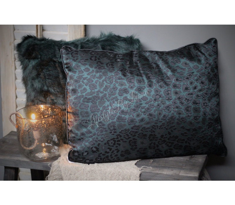 Kussen Leopard chiq groen/zwart 60 cm