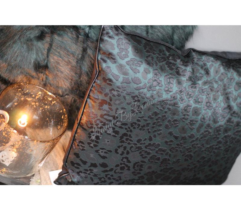 Kussen Chiq leopard groen/zwart 60 cm