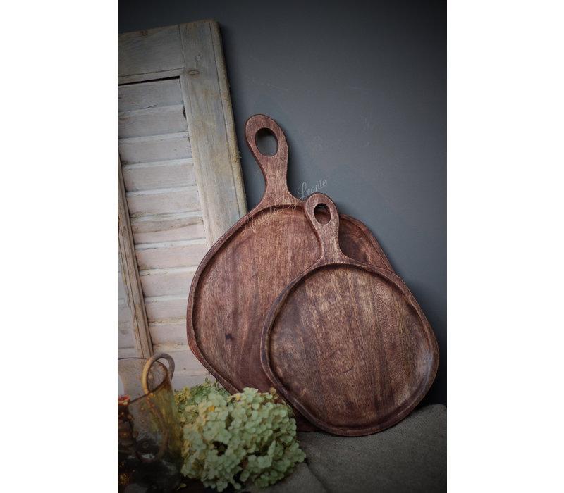 Bruine snijplank / tray hout 46 cm