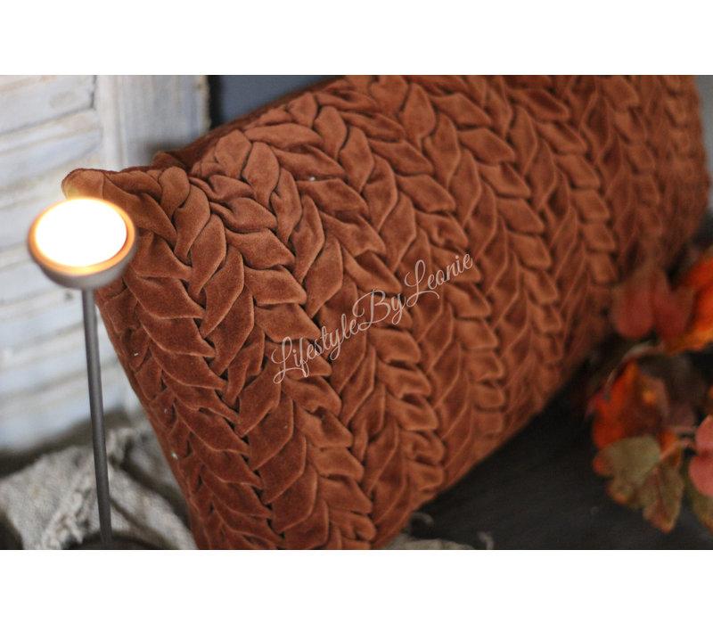 Langwerpig velvet kussen smock Henna brown