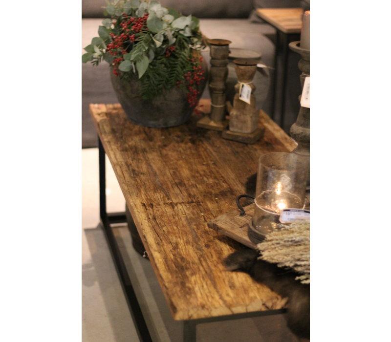 Oude houten railway tafel 125 x 55 cm