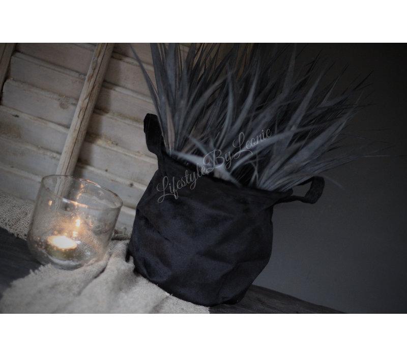 Velvet stoffen plantenmand zwart 17 cm