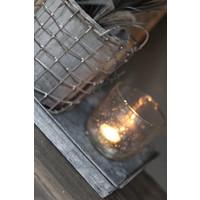 Grijze draadmand met stenen pot 16 cm