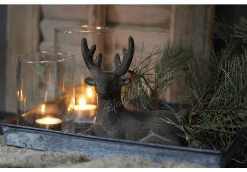 Beeld hert liggend bruin 17cm