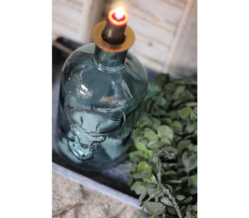 Glazen fleskandelaar Deer frosty blue glas 20 cm