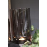 Glazen windlicht Levon lichtgrijs 20 cm