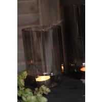 Glazen windlicht Levon lichtgrijs 15 cm