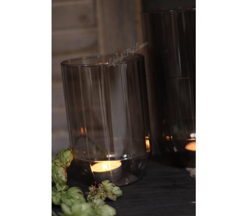 windlicht lichtgrijs glas 'Levon' 15cm