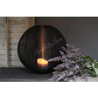 Ronde metalen lantaarn Botan black 30 cm