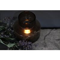 Vaas / windlicht met bubbels bruin 18 cm