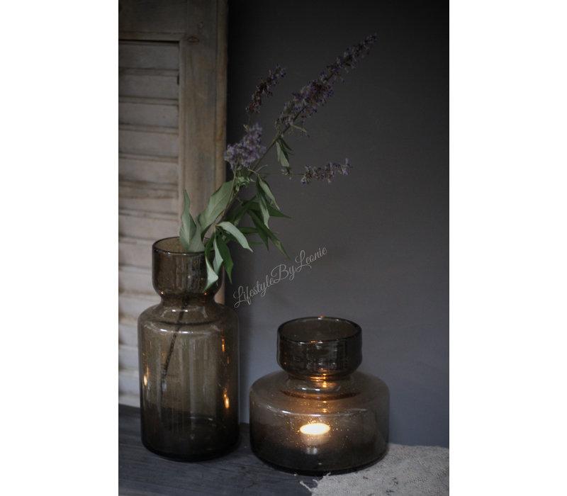 Vaas / windlicht met bubbels bruin 26 cm