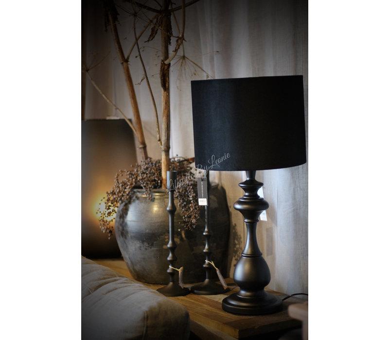 Velvet cilinder lampenkap Black 32 cm