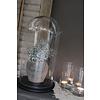 Hoge glazen stolp op houten zwarte voet 40 cm