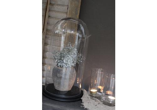 Hoge glazen stolp op houten zwarte voet 40cm