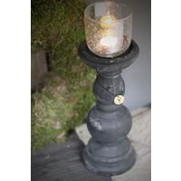 Brynxz hoge zwarte stenen kandelaar 36cm
