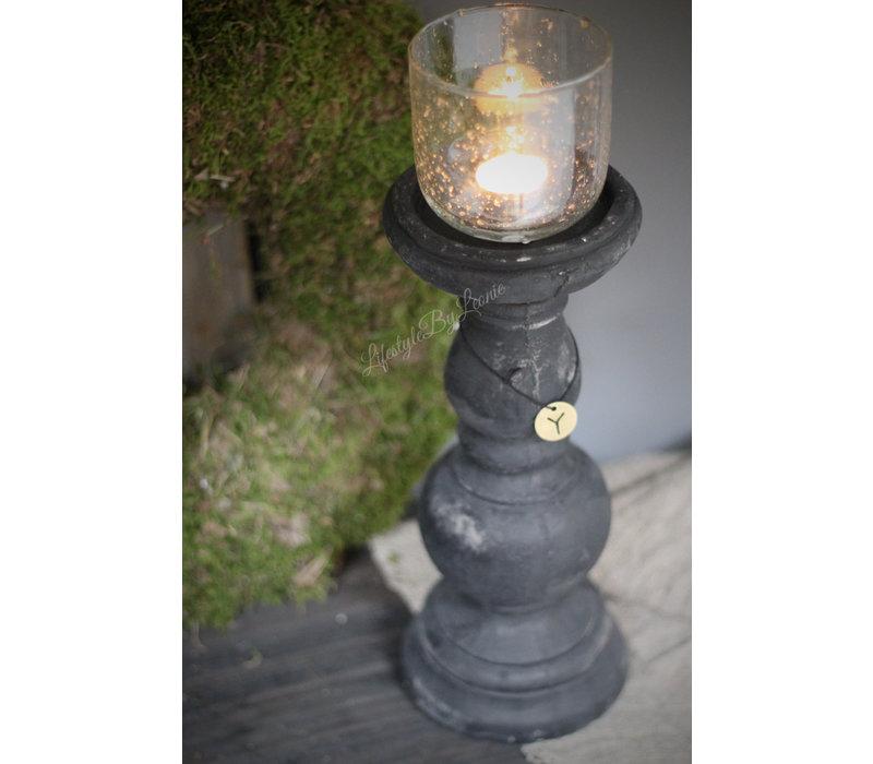 Brynxz hoge zwarte stenen kandelaar 30 cm