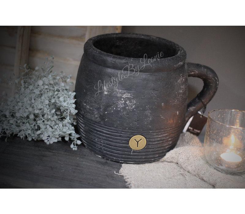 Brynxz zwarte stenen pot / kruik 26cm