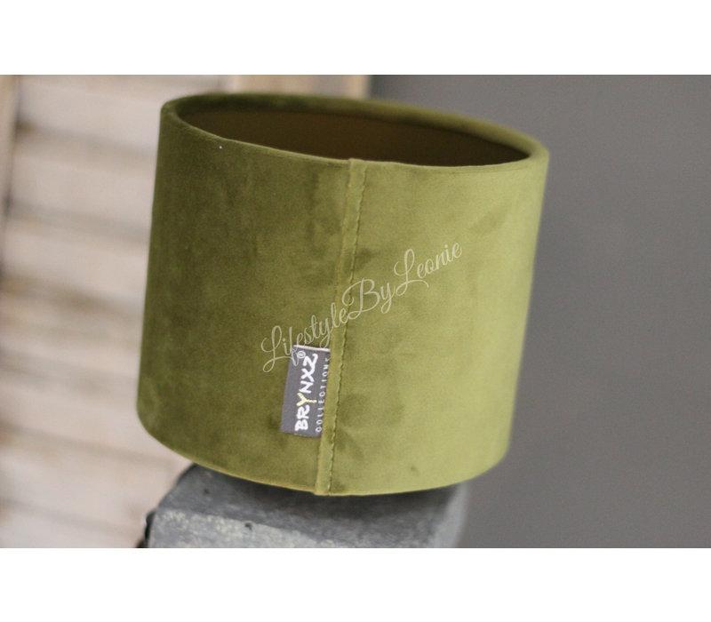 Brynxz velvet cilinder kap moss green 15cm