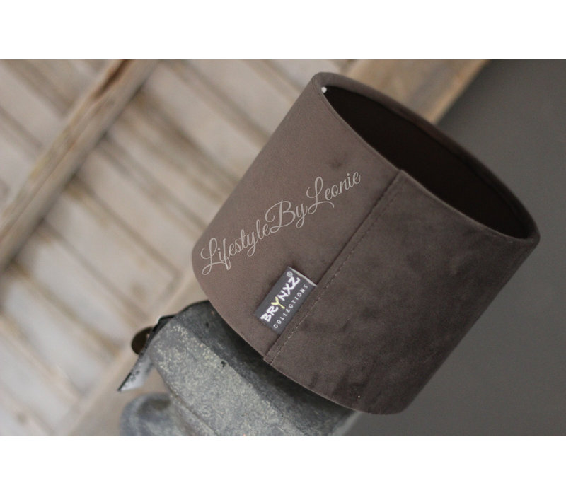 Brynxz velvet cilinder kap grey 15cm