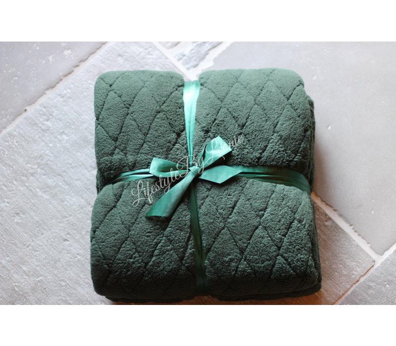 Fleece teddy plaid Ezra donker groen 200cm