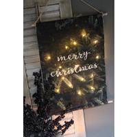 Linnen wandhanger met lichtjes 'Merry christmas' 60cm