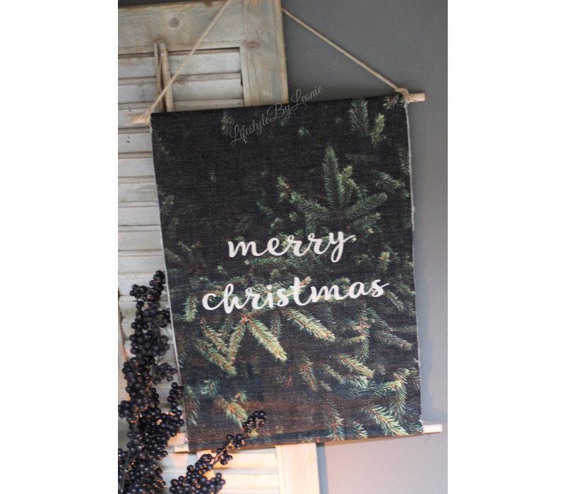Linnen wandhanger met lichtjes Merry christmas 60 cm