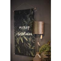 Linnen wandhanger met lichtjes Merry christmas 110 cm