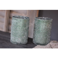 Waxinelicht frosted green 12cm