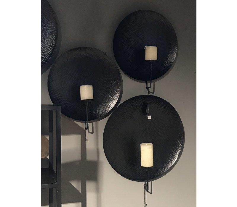 Ronde metalen wanddecoratie kandelaar L