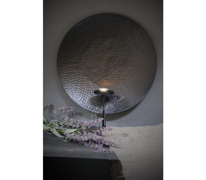 Ronde metalen wanddecoratie kandelaar - maat L