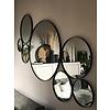 Houten zwarte ronde spiegel 50 cm