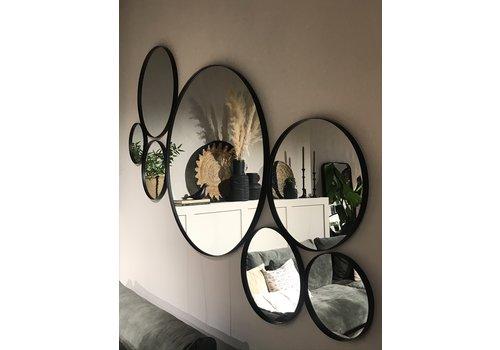 Houten zwarte ronde spiegel 40 cm