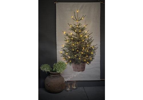 Linnen wandhanger Tree met lichtjes 110 cm