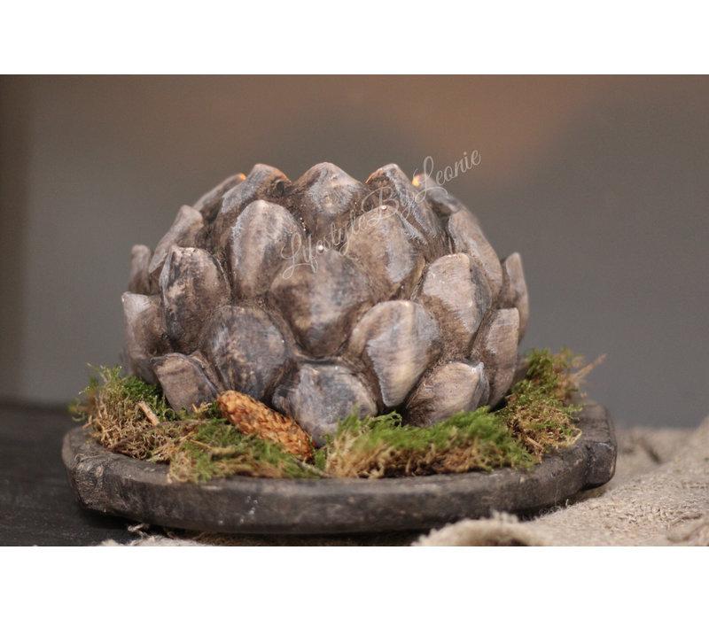 Stenen waxinelichthouder Artisjok 18 cm