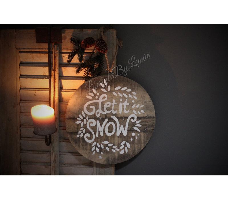 Houten hangbord Let it snow 28 cm