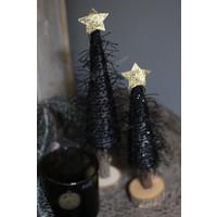 Zwart harig kerstboompje met gouden ster 34 cm