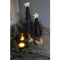 Zwart harig kerstboompje met gouden ster 27 cm