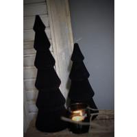 Houten velvet kerstboom Black 34 cm