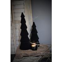 Houten velvet kerstboom Black 24 cm