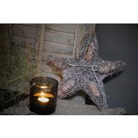 Rattan dichte ster met glitter 28 cm