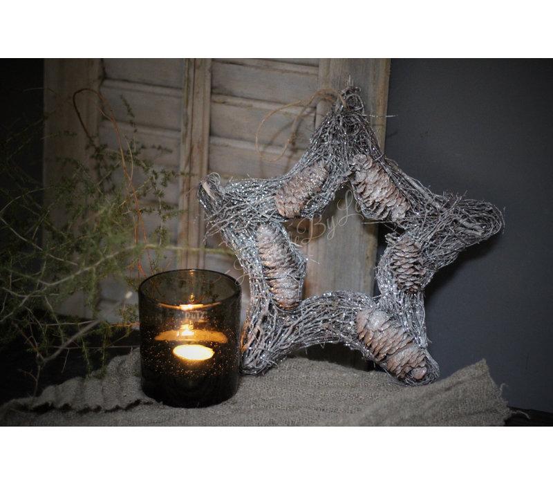 Rattan ster met glitter 28 cm