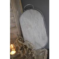 Ovale dienblad zink/hout met oren 27 cm