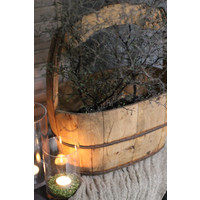 Ovale houten bak met handvat