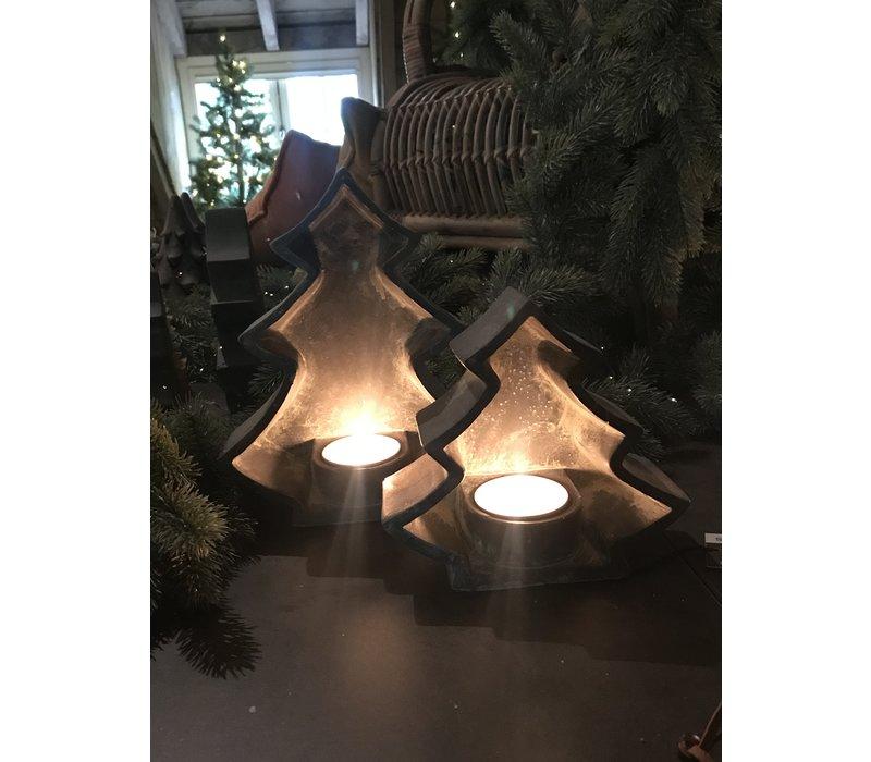 Brynxz set van 2 kerstboom waxinelichthouders